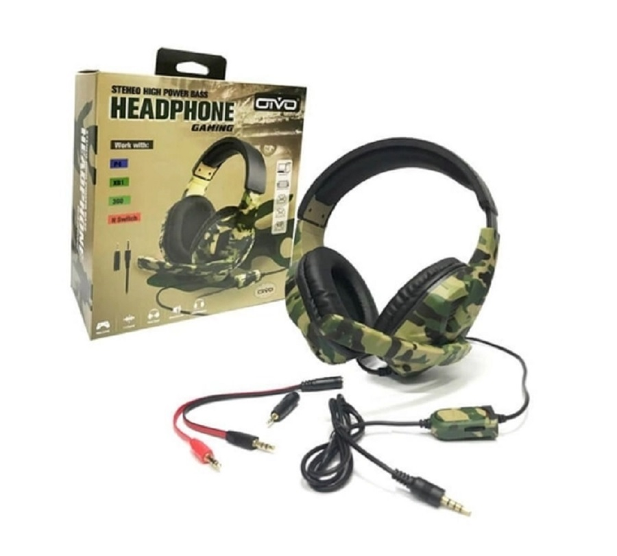 Headset Gamer OIVO Verde Camuflado 5 em 1