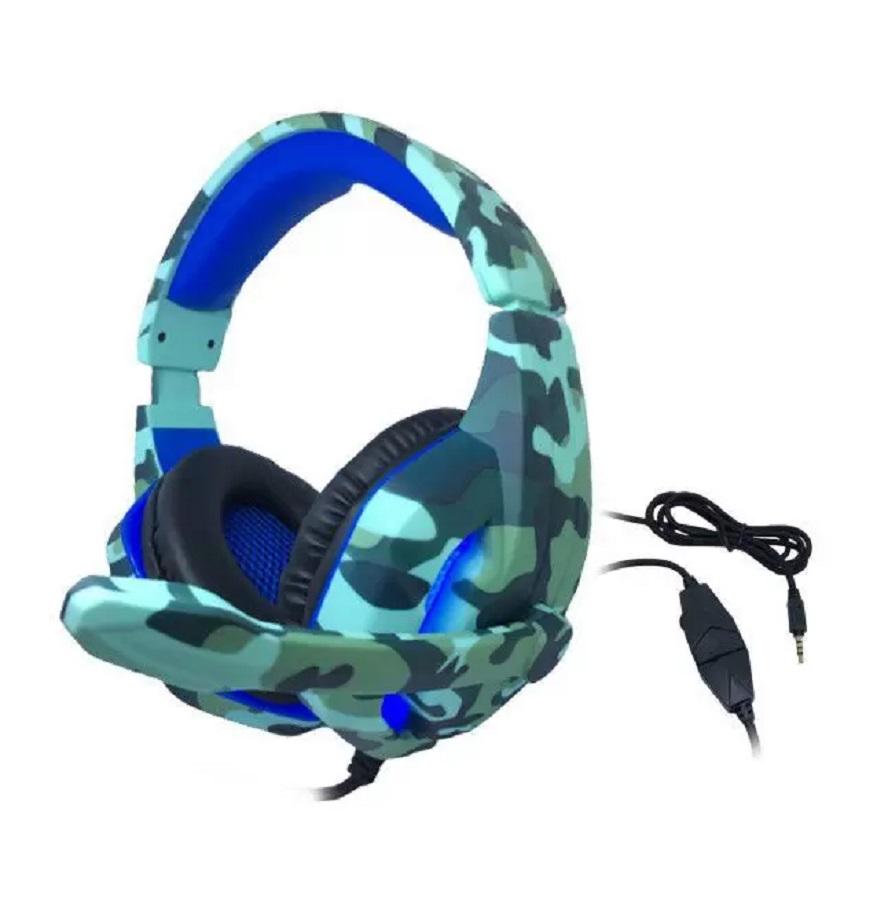 Headset Gamer TecDrive PX6 Naval com Led Azul Camuflado