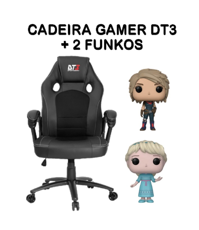 Kit Home Office: Cadeira Gamer DT3 com 2 FUNKOS