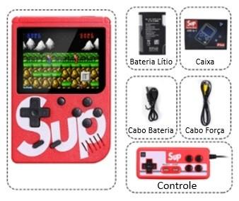 Sup - Mini Game Retro Vermelho com 400 Jogos e Controle