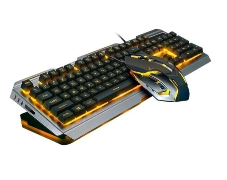 Teclado e Mouse Gamer com Fio - Base Em Alumínio Escovado