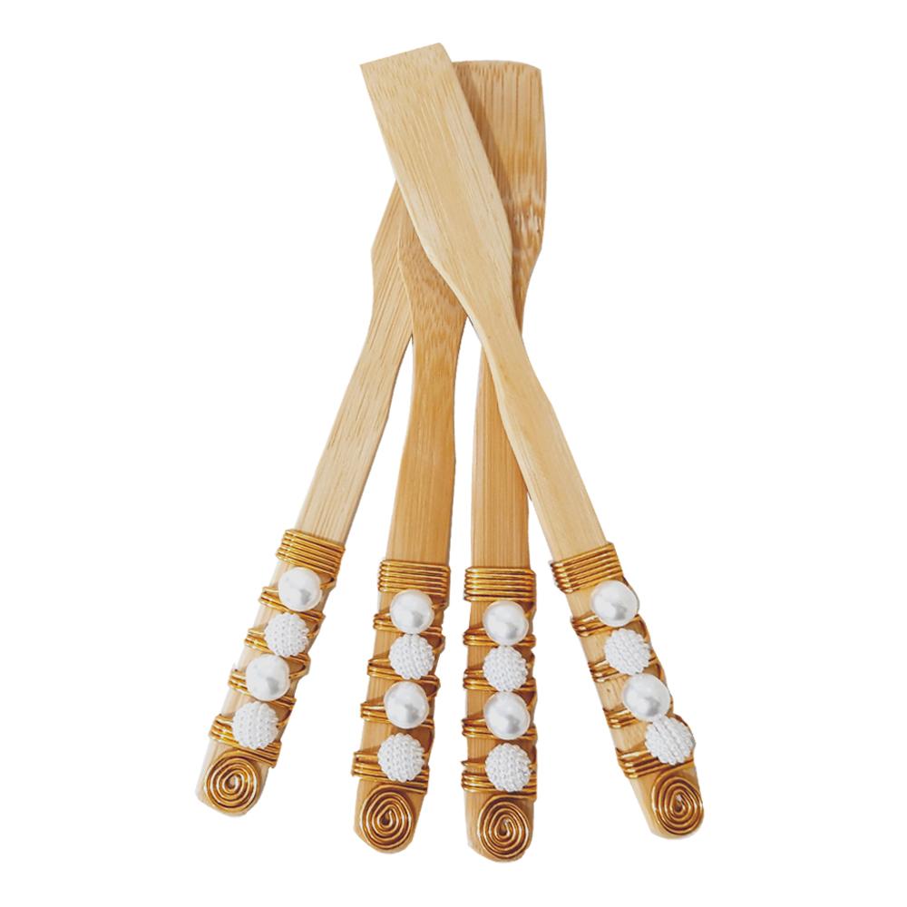4 Espátulas em Bambu Cabo Bordado Dourado e Perolas