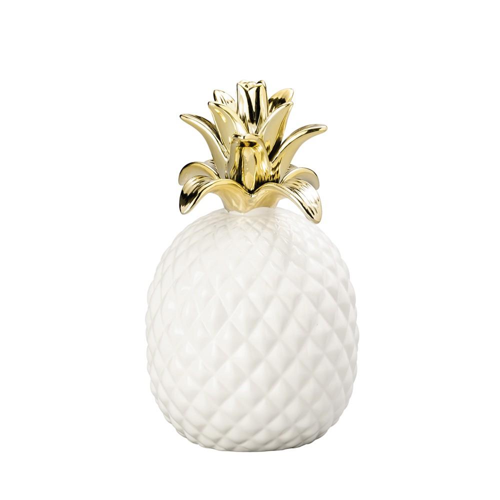 Abacaxi Decorativo de Cerâmica Branco e Dourado 20 cm