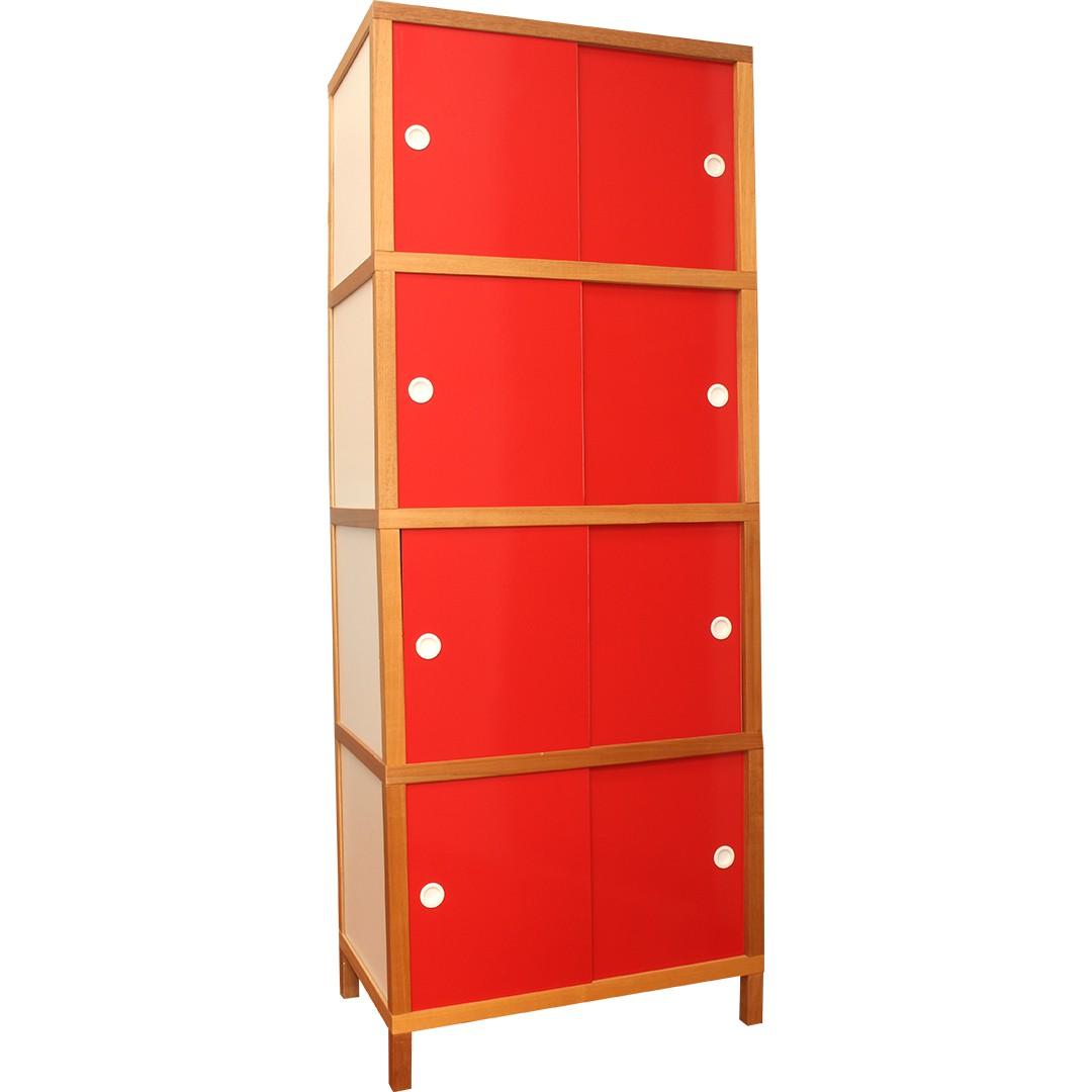 Armário 8 portas - Vermelho