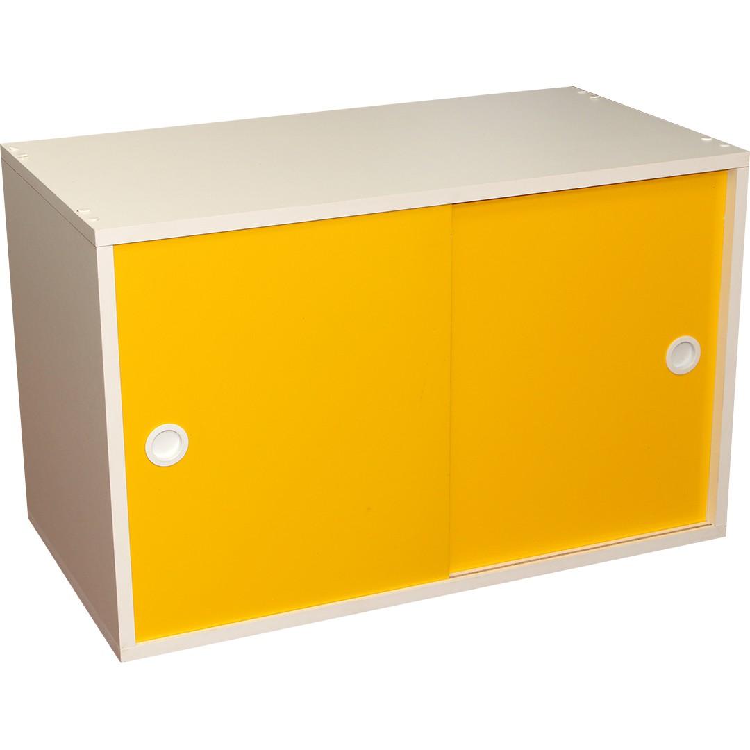 Armário Portas de Correr Young 73 Branco com Porta Amarela