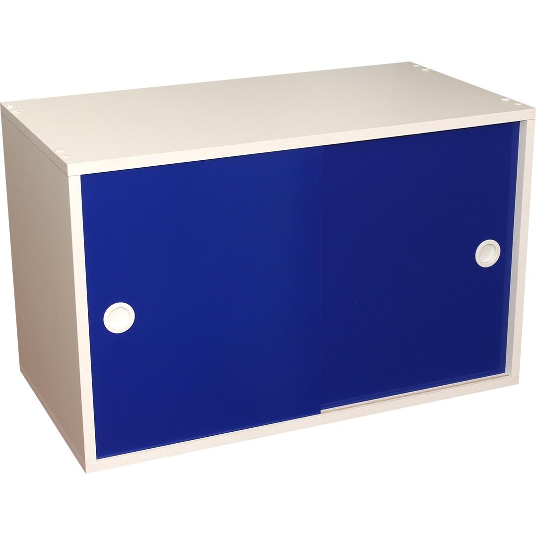 Armário Portas de Correr Young 73 Branco com Porta Azul