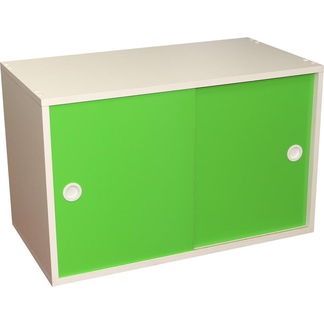 Armário Portas de Correr Young 73 Branco com Porta Verde