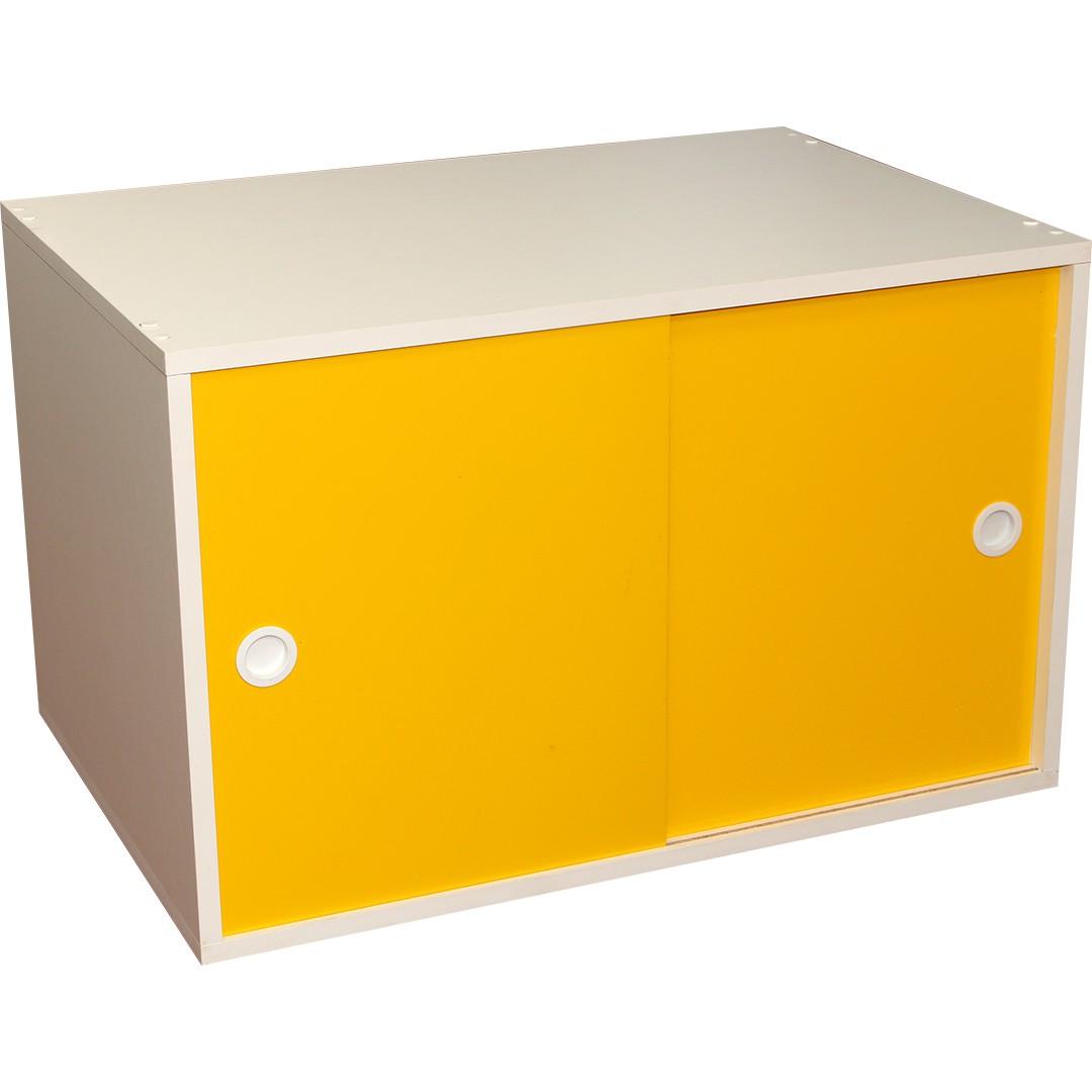 Armário Portas de Correr Young 74 Branco com Porta Amarela