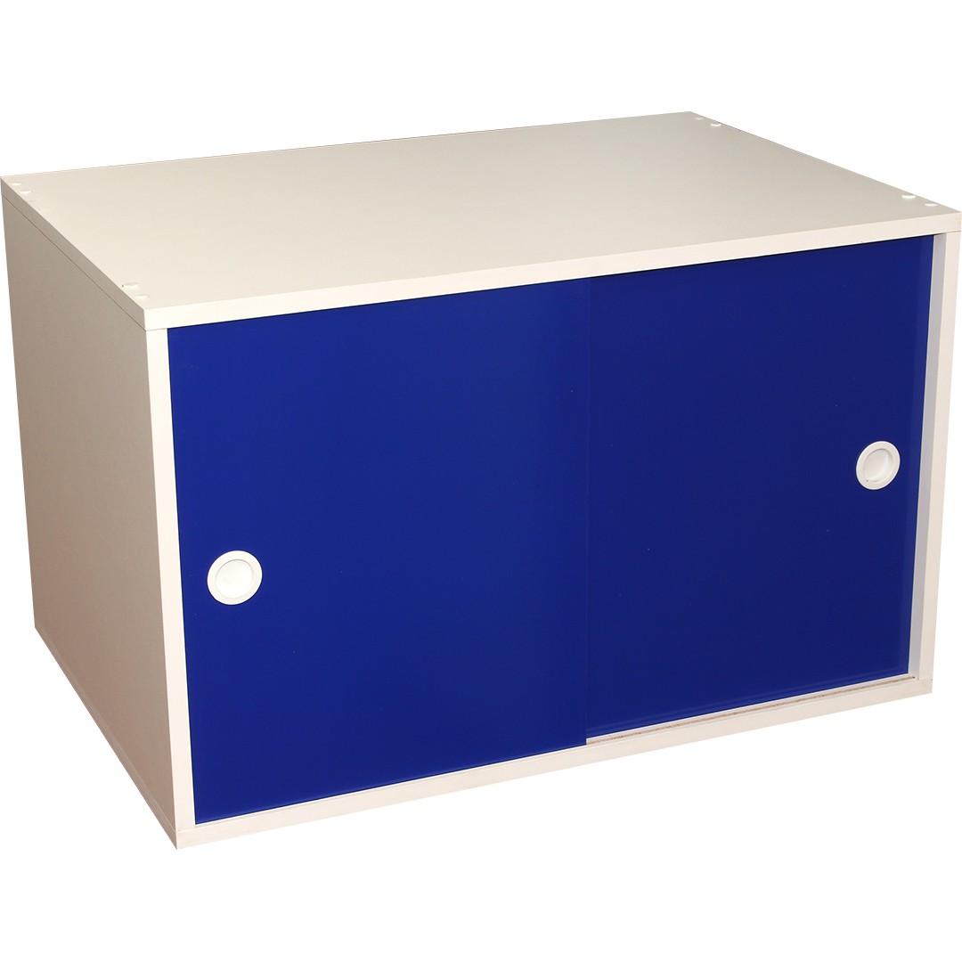 Armário Portas de Correr Young 74 Branco com Porta Azul