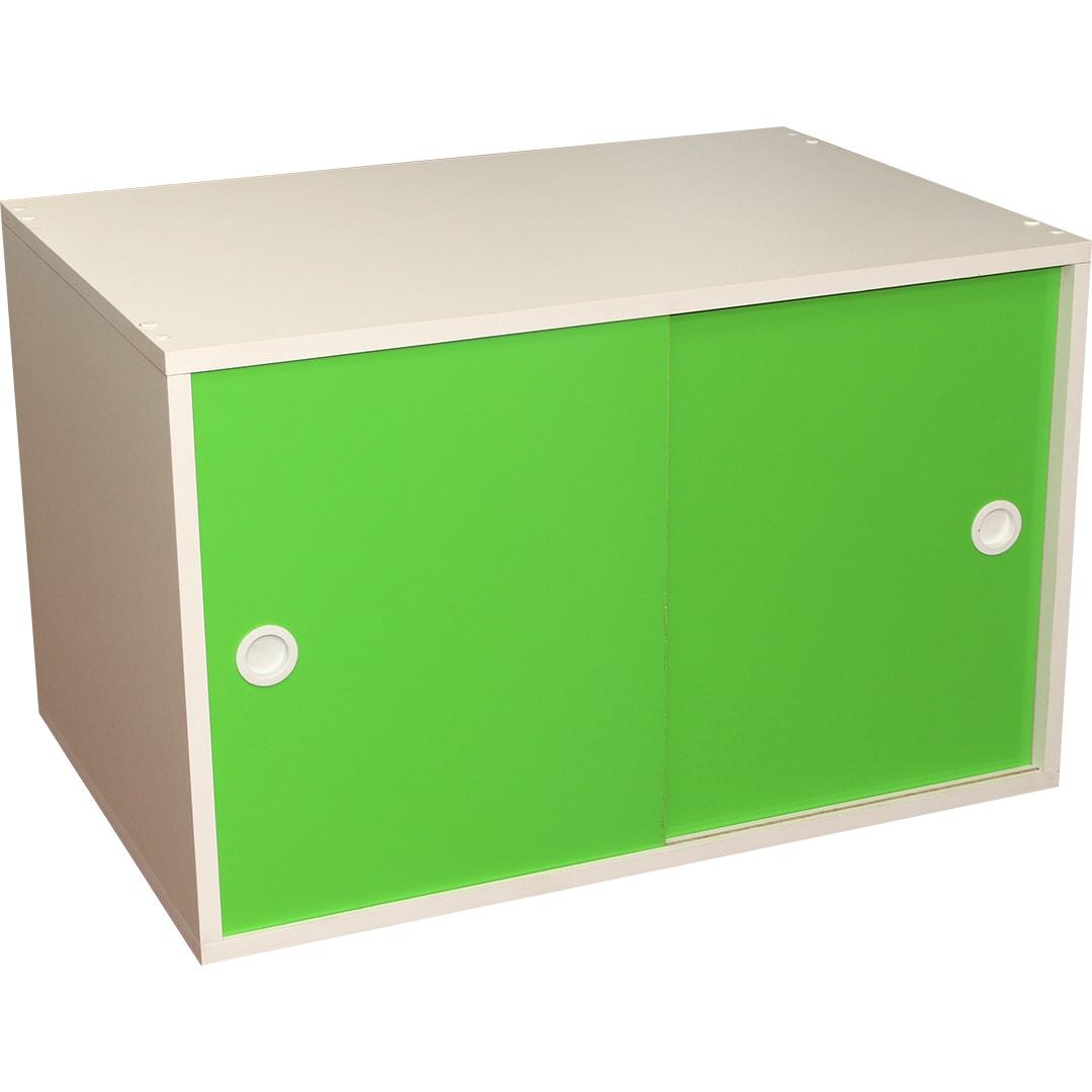 Armário Portas de Correr Young 74 Branco com Porta Verde