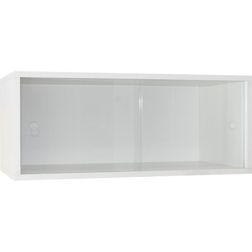 Armário Young 733 Branco Portas de Correr de Vidro