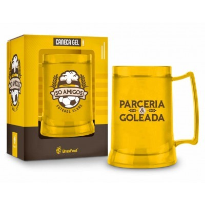 Caneca Gel Temas Futebol e Cerveja Amarelo 300 ml