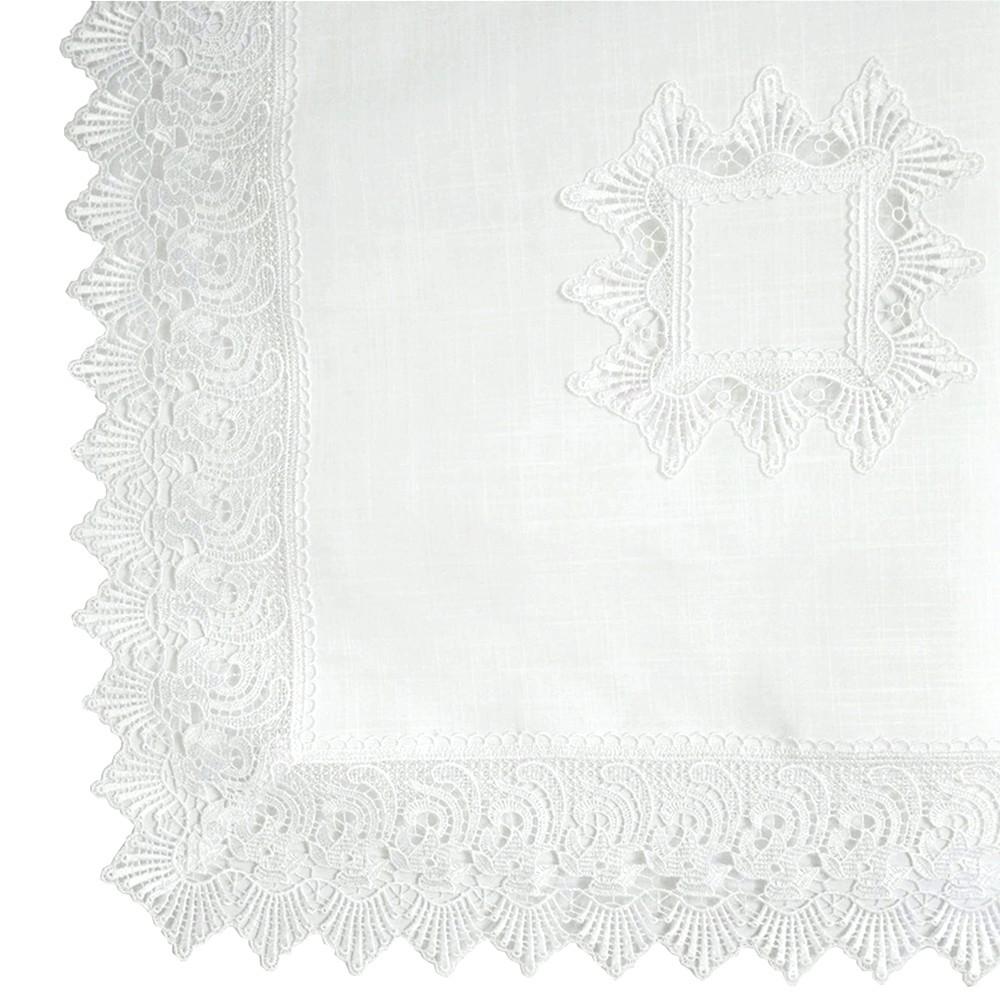 Centro de Mesa Quadrado 002B Guipir Grego Branco 85 cm