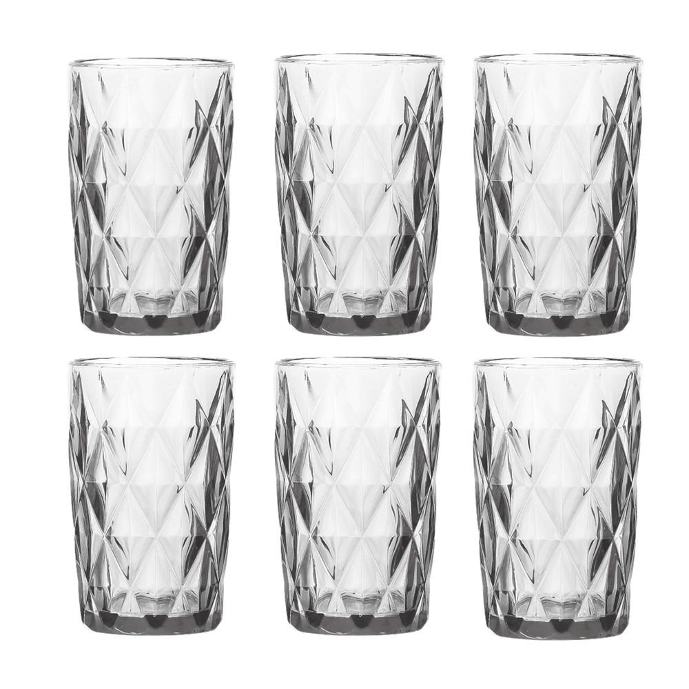Conjunto 6 Copos Altos de Vidro Diamond 330 ml - Transparente