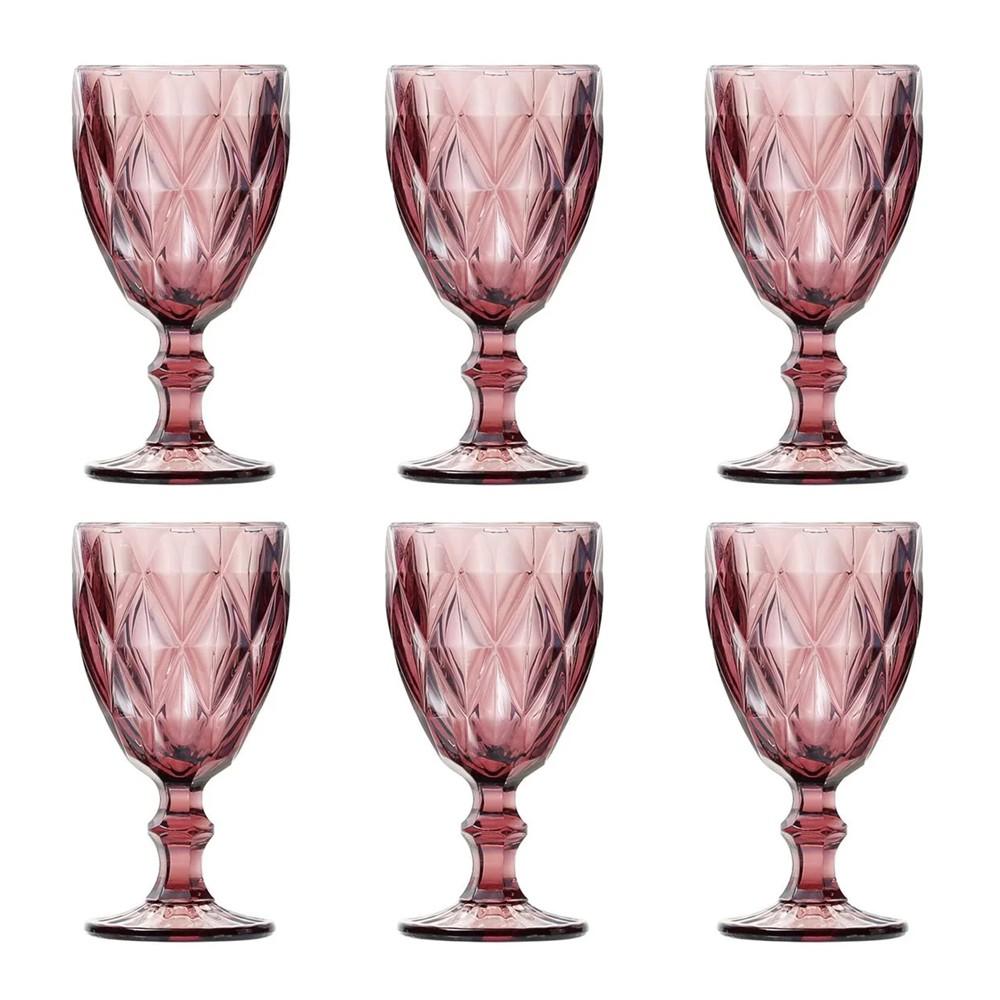 Conjunto 6 Taças Água de Vidro Diamond 260 ml - Lilás