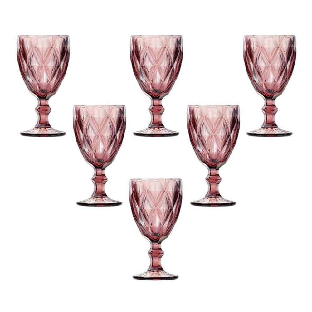 Conjunto 6 Taças para Vinho de Vidro Diamond Lilás 210 ml