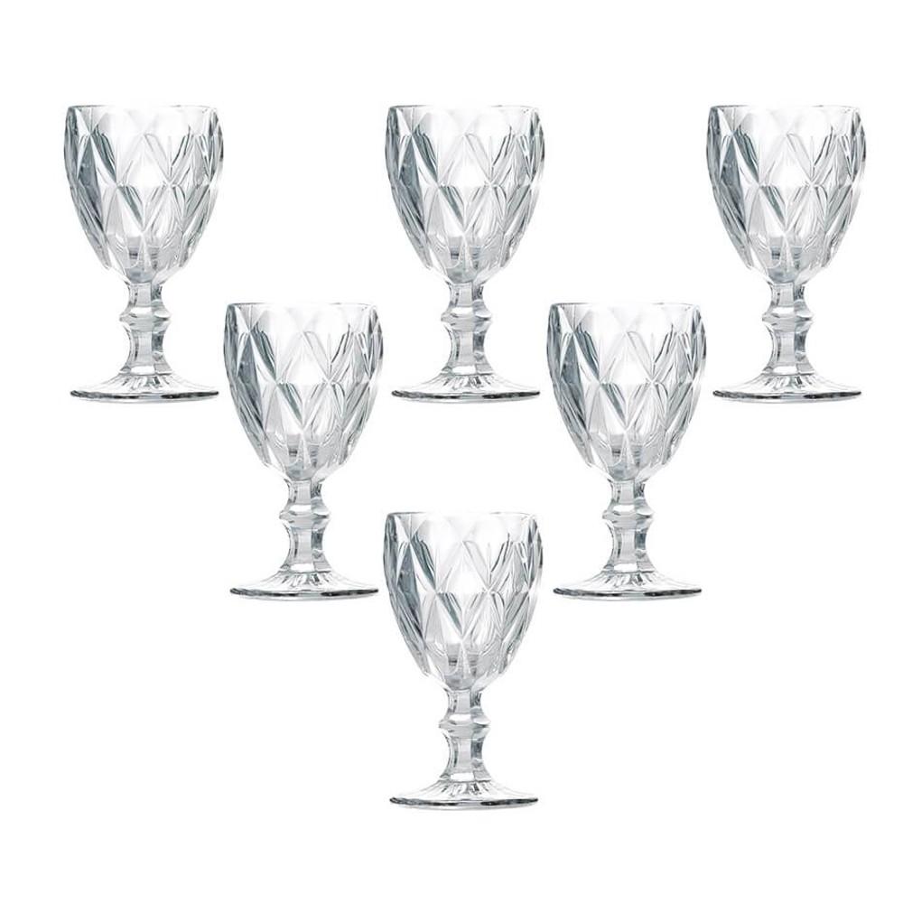 Conjunto 6 Taças Vinho de Vidro Diamond 210 ml - Transparente