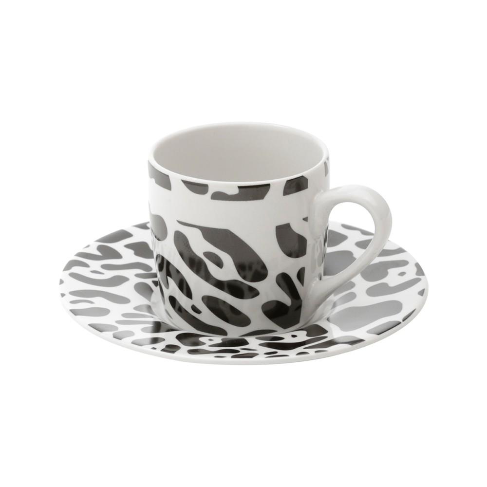 Conjunto 6 Xícaras de Café de Porcelana Animal Print 90 ml
