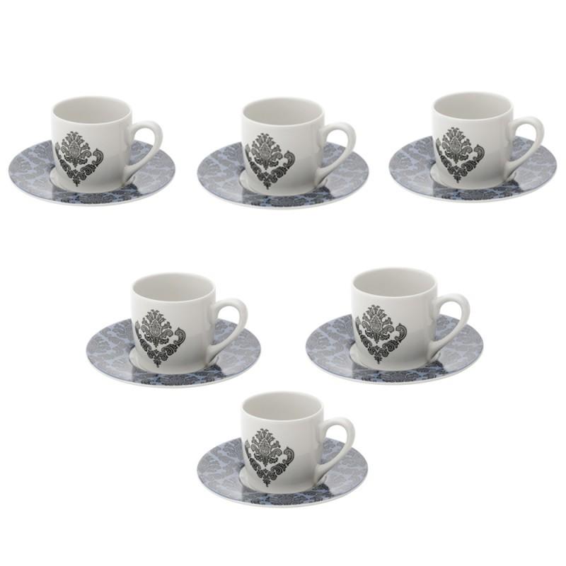 Conjunto 6 Xícaras de Café de Porcelana Barroque 90 ml