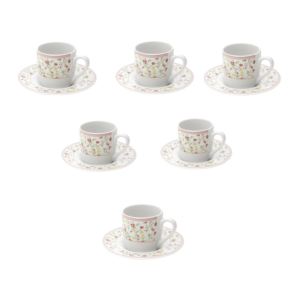Conjunto 6 Xícaras de Café de Porcelana Delicate 90 ml