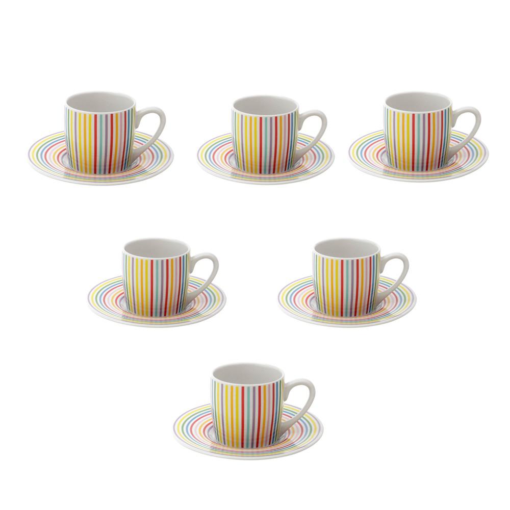 Conjunto 6 xícaras de Café de porcelana Rainbow 90 ml