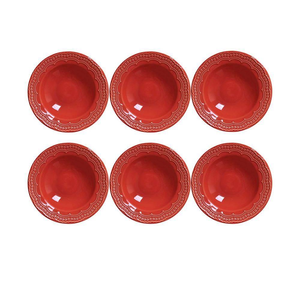 Conjunto de 6 Pratos Fundos Madeleine Cerâmica Vermelho