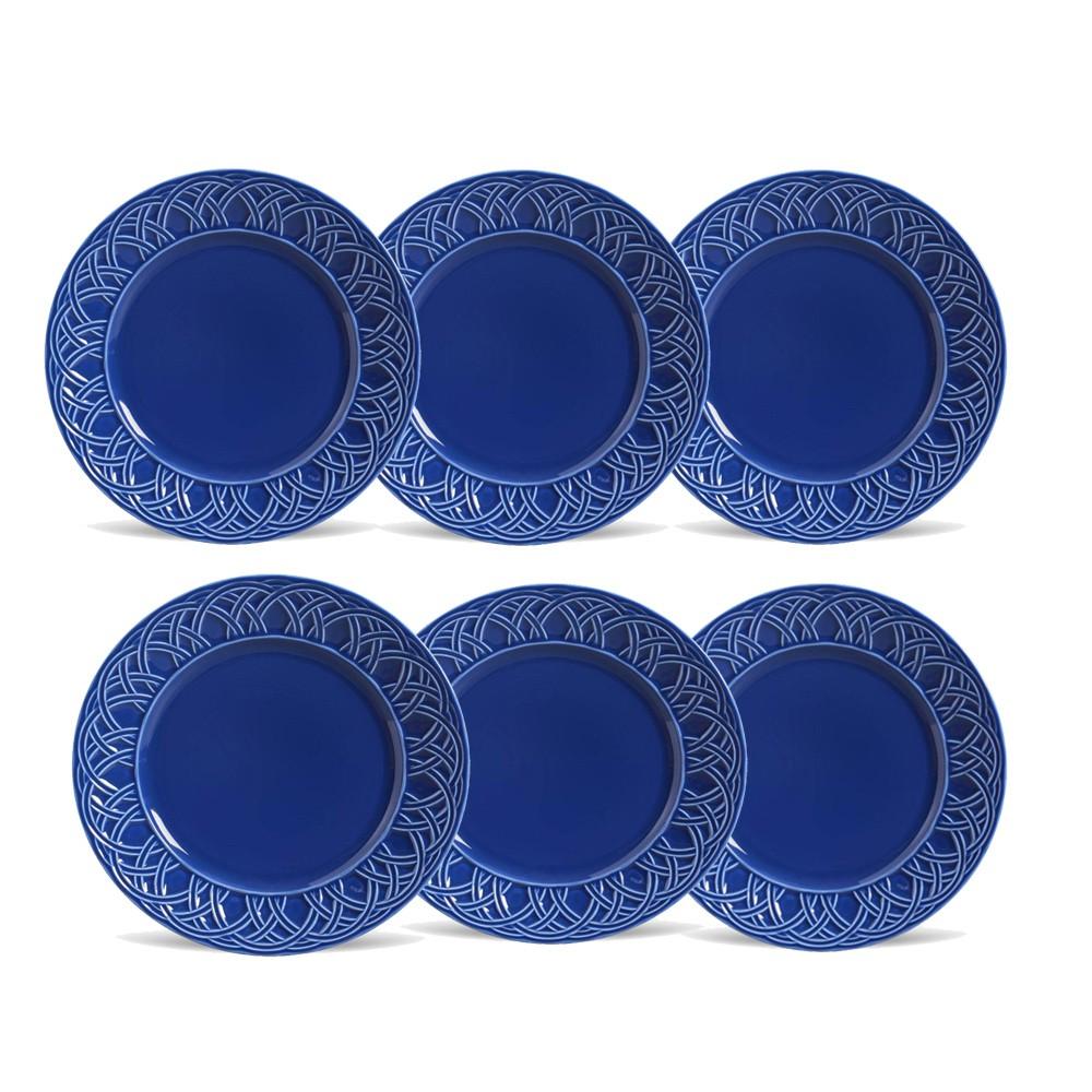 Conjunto de 6 Pratos Rasos Cestino Cerâmica Azul Navy
