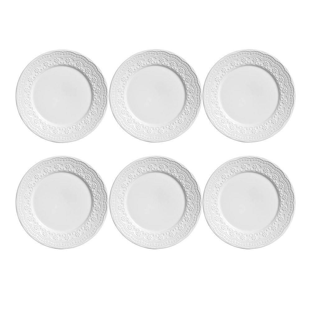 Conjunto de 6 Pratos Rasos Madeleine Cerâmica Branco