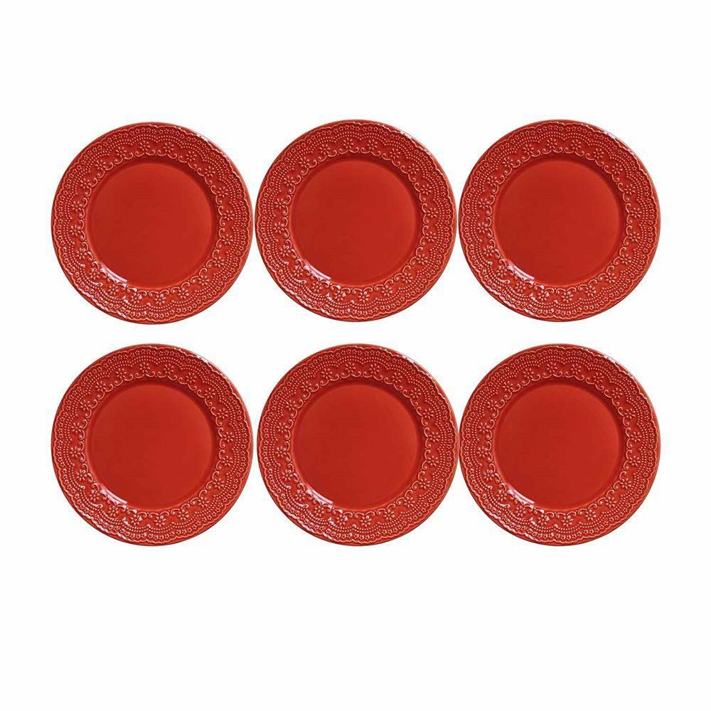 Conjunto de 6 Pratos Rasos Madeleine Cerâmica Vermelho