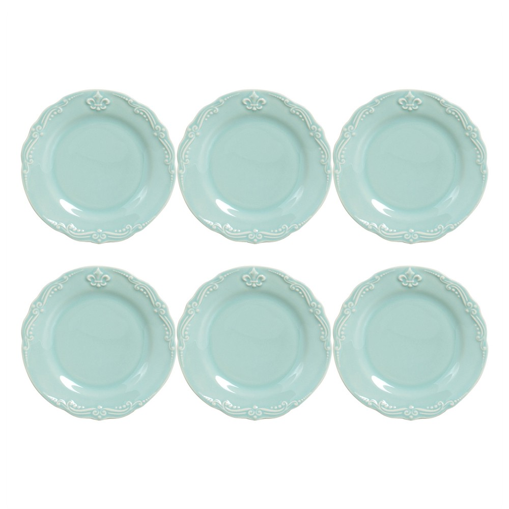 Conjunto de 6 Pratos Sobremesa Flor de Lis Cerâmica Verde