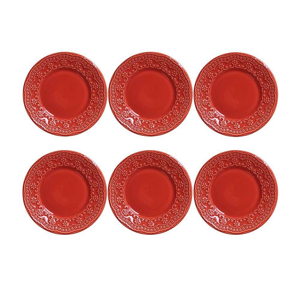 Conjunto de 6 Pratos Sobremesa Madeleine Cerâmica Vermelho