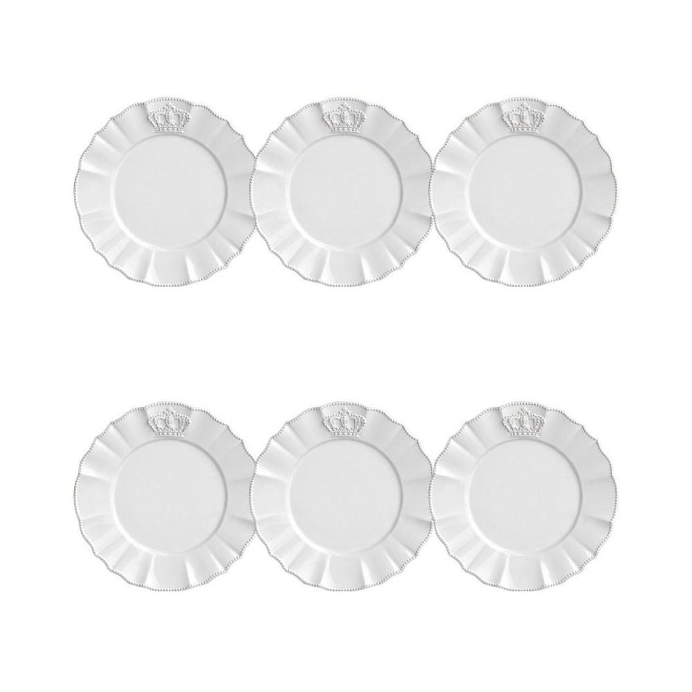 Conjunto de 6 Pratos Sobremesa Windsor Cerâmica Branco