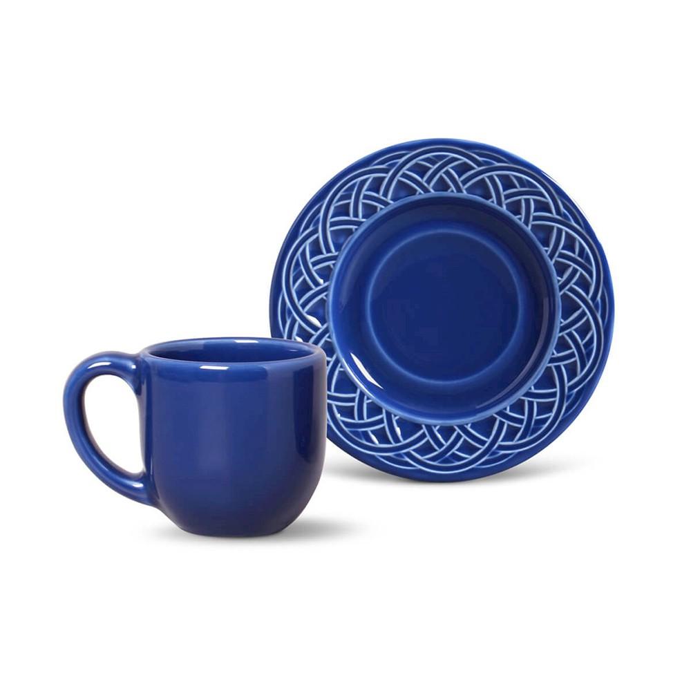 Conjunto de 6 Xícaras para Café Cestino Cerâmica Azul Navy
