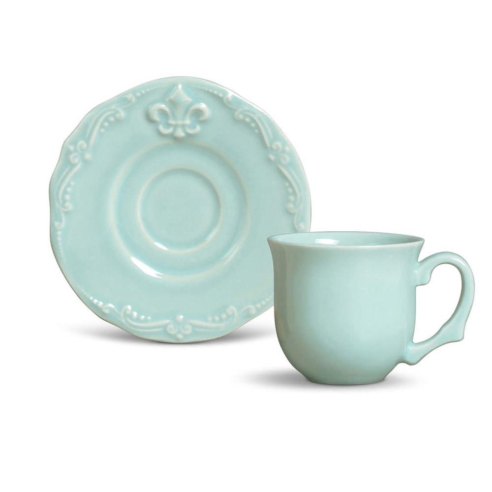 Conjunto de 6 Xícaras para Café Flor de Lis Cerâmica Verde