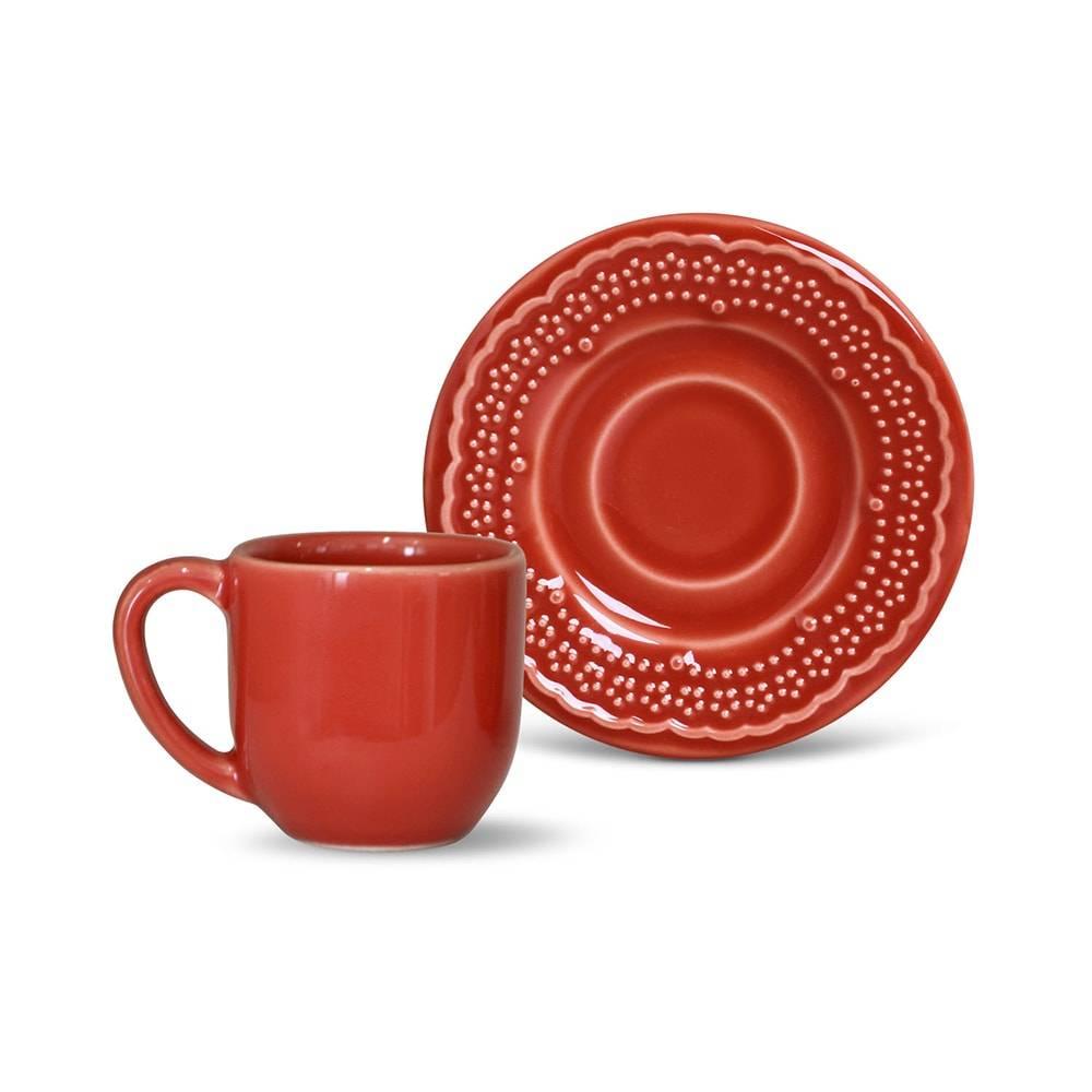 Conjunto de 6 Xícaras para Café Madeleine Cerâmica Vermelho