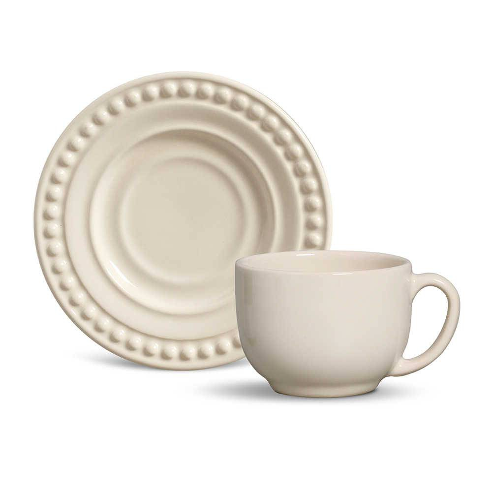 Conjunto de 6 Xícaras para Chá Atenas Cerâmica Cru