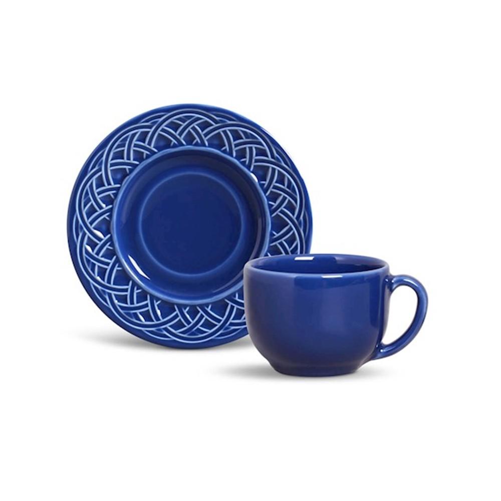 Conjunto de 6 Xícaras para Chá Cestino Cerâmica Azul Navy
