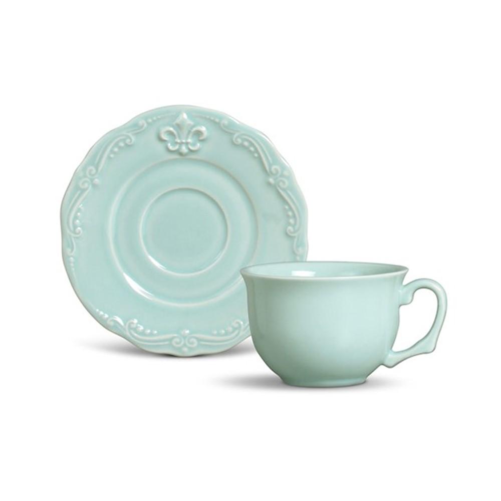Conjunto de 6 Xícaras para Chá Flor de Lis Cerâmica Verde
