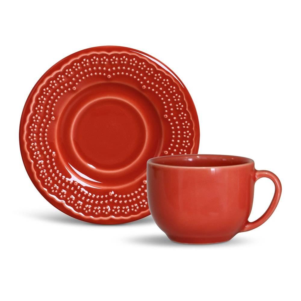 Conjunto de 6 Xícaras para Chá Madeleine Cerâmica Vermelho
