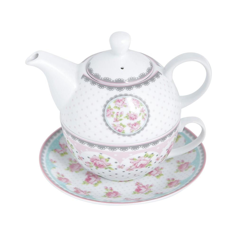 Conjunto de Chá de Porcelana Super White Rose - 3 peças