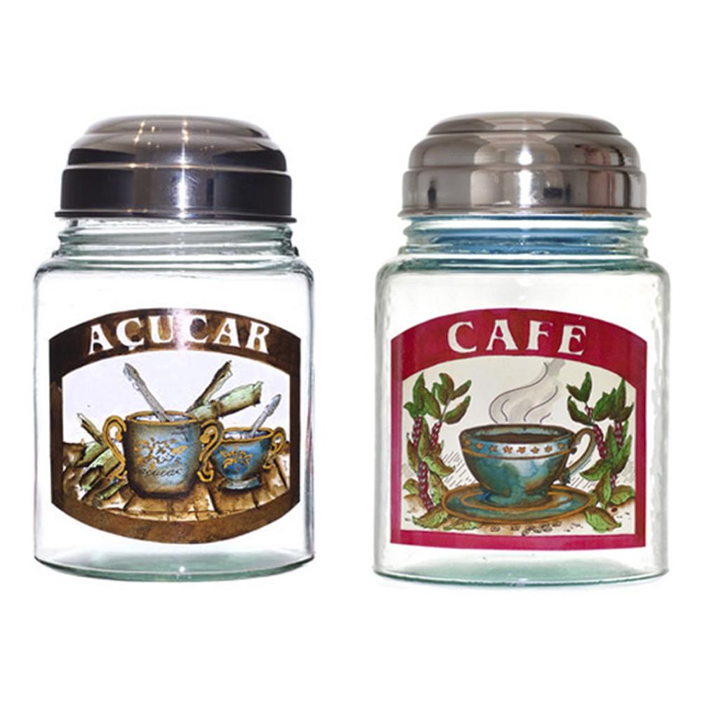 Conjunto de Potes de Vidro Para Café E Açúcar Júlia