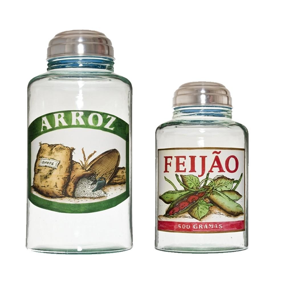 Conjunto de Potes vidro Arroz e Feijão da vovó 5 L e 2 L