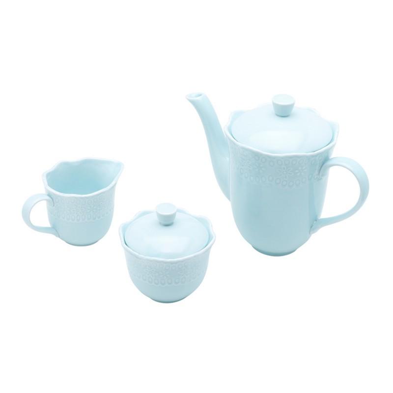 Conjunto para Chá ou  Café de Porcelana  Princess Azul - 3 Peças