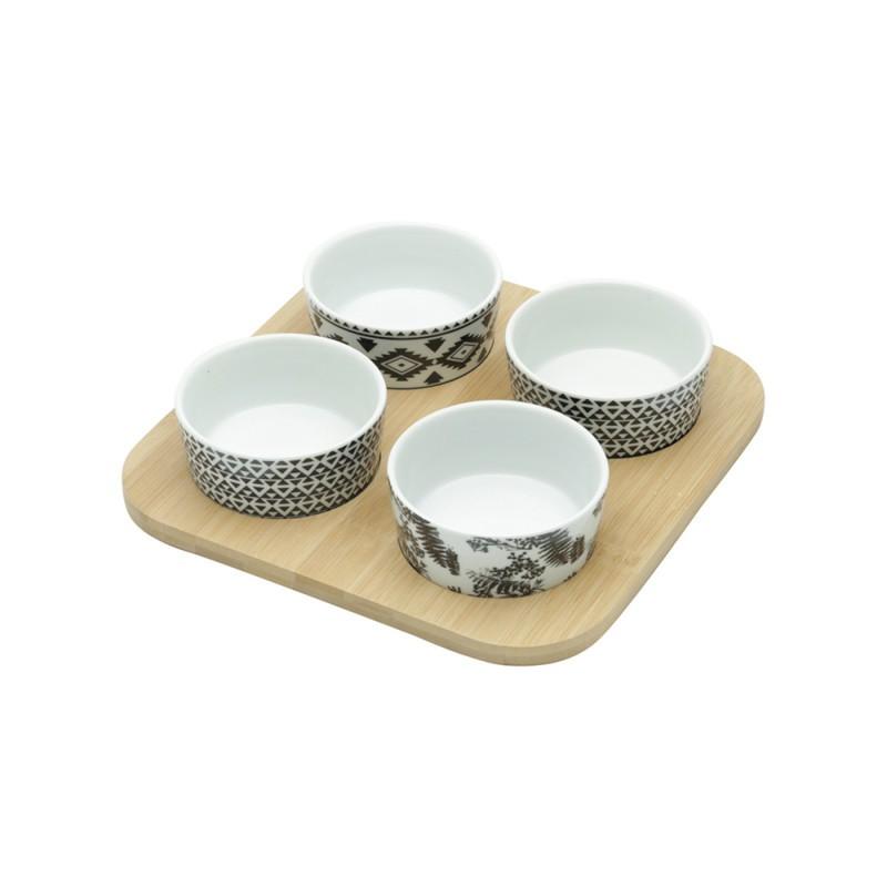 Conjunto Suporte de Bambu e 4 Petisqueiras de Cerâmica