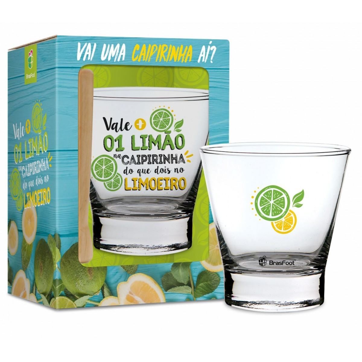 Copo Caiprinha Vidro e Socador Vale Mais 1 Limão