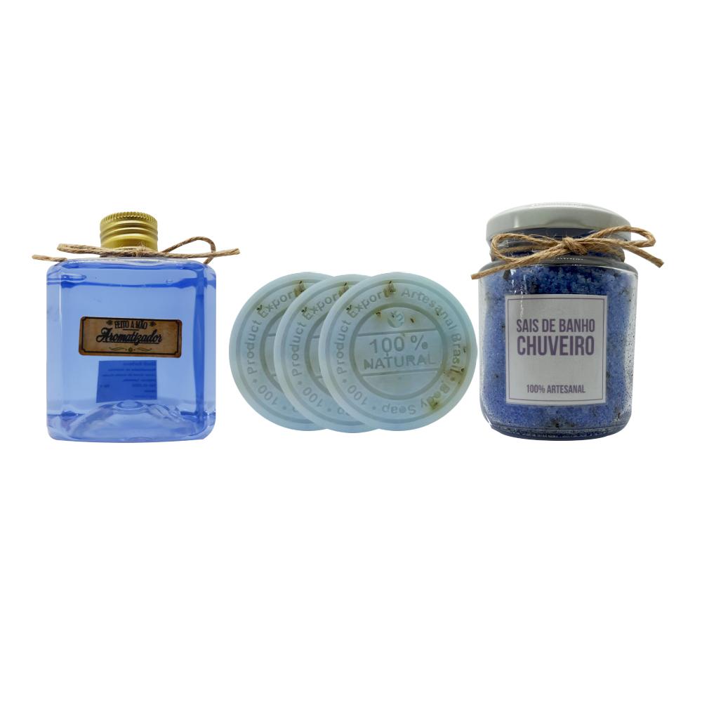 Kit Artesanal Lavanda - Sabonetes e Sais de banho + Difusor