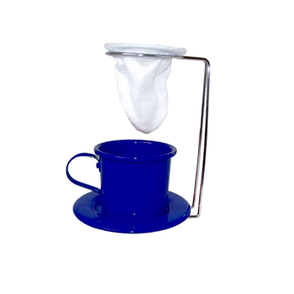 Kit Café Gourmet Xícara Pires Esmaltada Azul e Mini Coador e Suporte