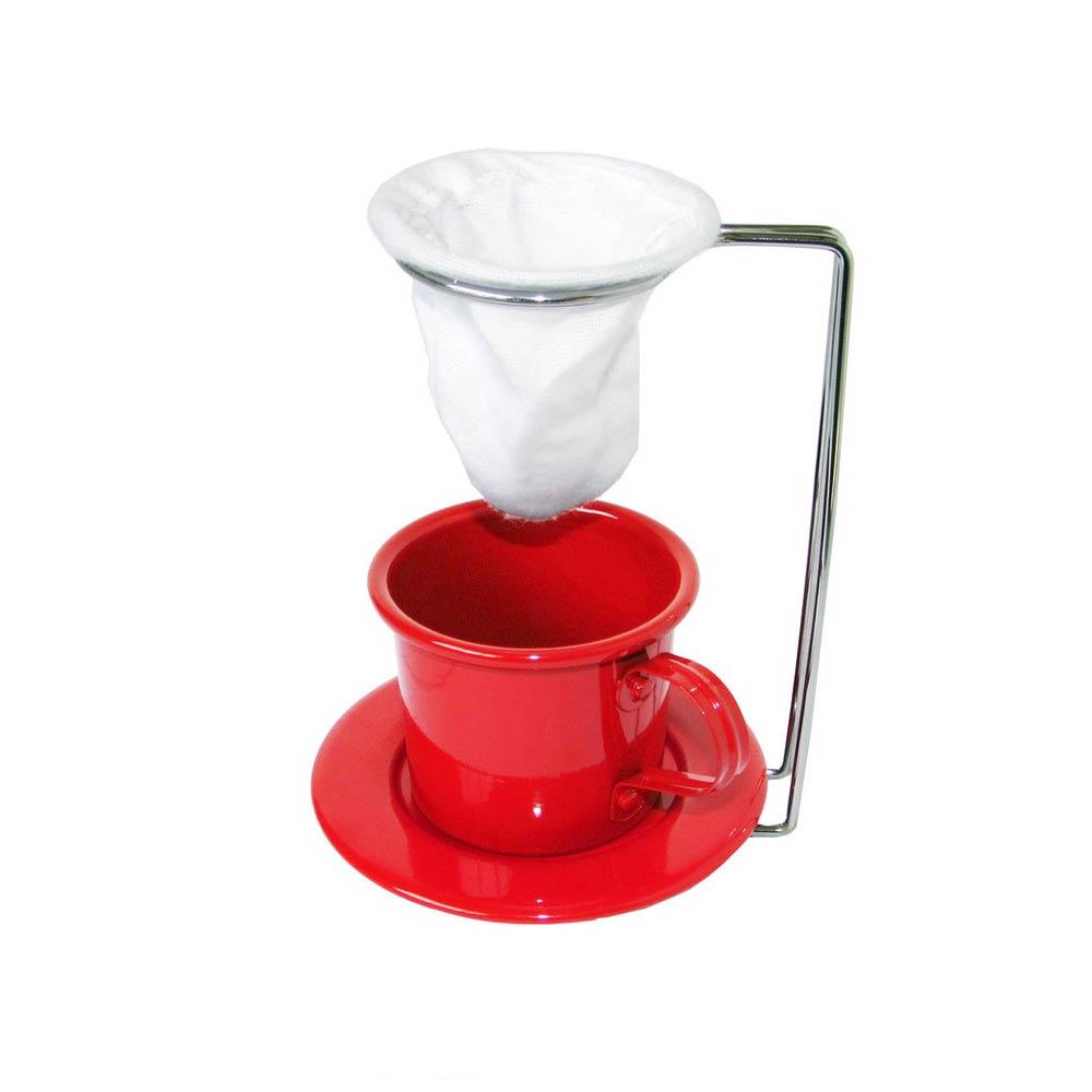 Kit Café Gourmet Xícara Pires Esmaltada Vermelho Mini Coador e Suporte