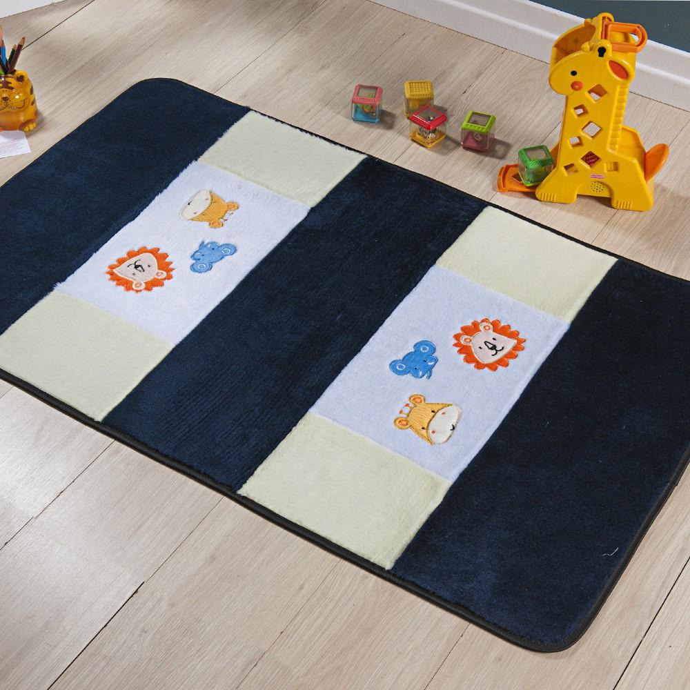 Passadeira Infantil Animais Azul Marinho 1,20x0,74 cm