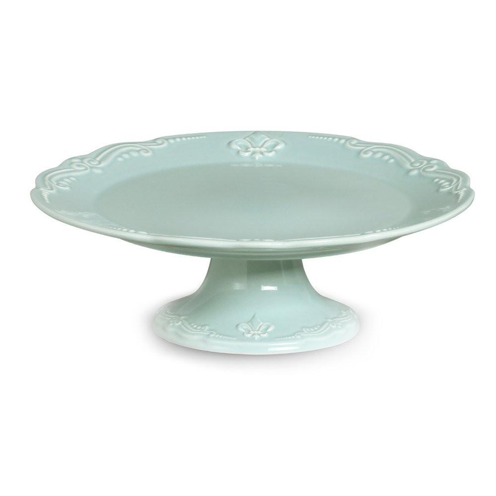 Prato de Bolo Cerâmica Pedestal Flor de Lis Verde 30 cm
